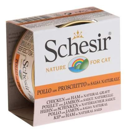 Консервы для кошек Schesir, куриное филе, ветчина, 14шт по 70г