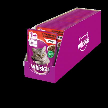 Влажный корм для кошек Whiskas рагус говядиной и ягненком, 85г