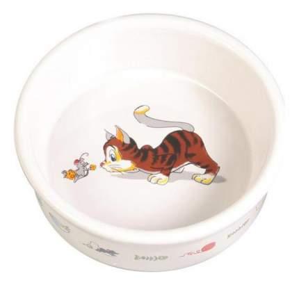 Одинарная миска для кошек и собак TRIXIE Котик с мышкой, керамика, белый, 0.2 л
