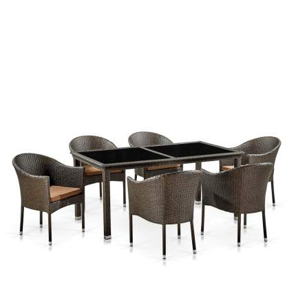 Комплект плетеной мебели Afina T246A/Y350A-W53 Brown 6Pcs