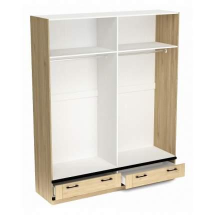 Платяной шкаф СБК Бостон SBK_11611 180x52,6x217,4, белый/гикори джексон/черный
