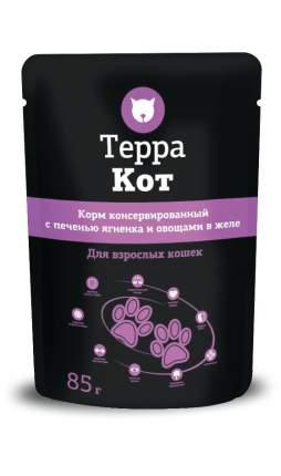 Влажный корм для кошек ТЕРРА КОТ, с печенью ягненка и овощами в желе, 26шт по 85г