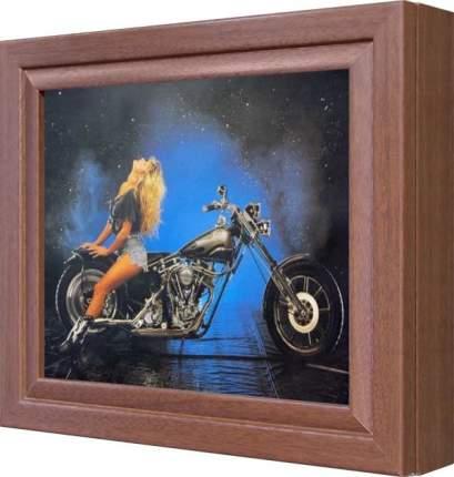 """Ключница """"Девушка на черном мотоцикле (тиснение – золото)"""" Орех"""