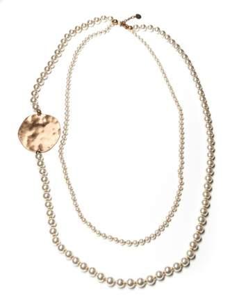 Колье Moon Paris жемчужное с золотистыми дисками (белый)