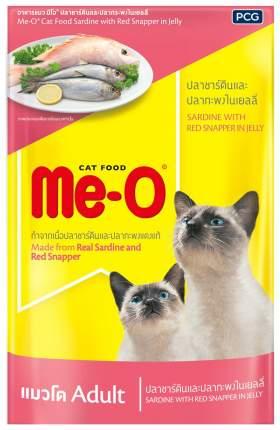 Влажный корм для кошек Me-O Adult, сардины с красным окунем, 12шт по 80г