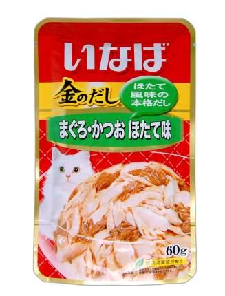 Влажный корм для кошек CIAO, японский тунец бонито и с гребешком, 60г