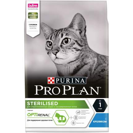 Сухой корм для кошек PRO PLAN Sterilised Optirenal, для стерилизованных, кролик, 3кг