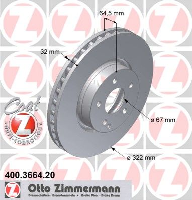 Тормозной диск ZIMMERMANN 400366420
