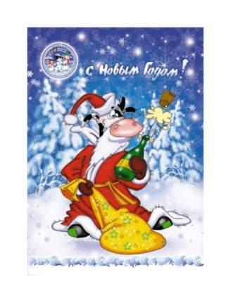 Пакет подарочный Snowmen Бычок-Дед Мороз 38x27 см Е80701