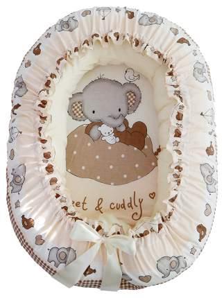 Подушка-валик Золотой Гусь гнездо Слоник Боня бежевый
