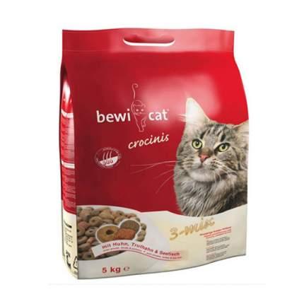 Сухой корм для кошек Bewi Cat Crocinis, курица, индейка, рыба, 5кг
