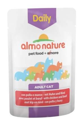 Влажный корм для кошек Almo Nature Daily, говядина, курица, 70г