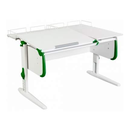 Парта Дэми СУТ-25-01 WHITE DOUBLE со столешницей и приставками белый, зеленый, белый,