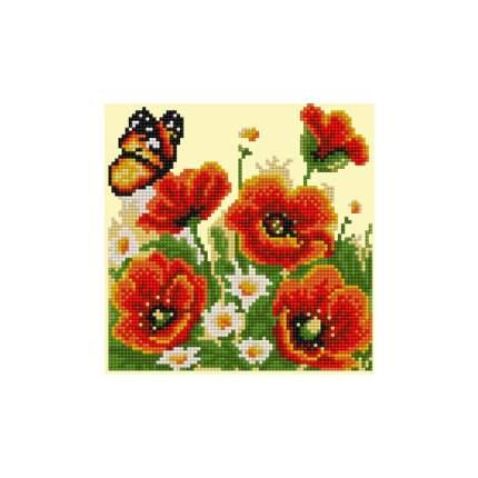 Мозаика алмазная (блестящая) 20х20 см бабочка и маки 20х20 asn004 Рыжий кот