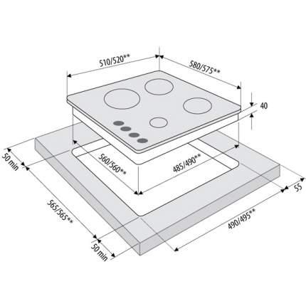 Встраиваемая варочная панель газовая Fornelli PGA 60 ESTRO IX Silver