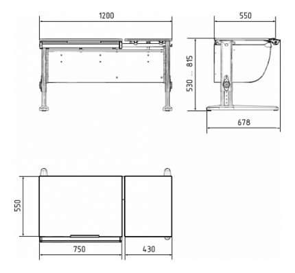 Парта Дэми Классик 120 см двойная столешница береза/бежевая