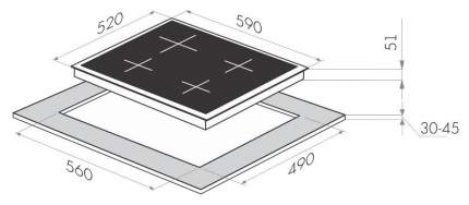 Встраиваемая варочная панель газовая MAUNFELD MGHG 64 76 B Black