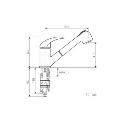 Смеситель для кухонной мойки Zigmund & Shtain ZS 1200 темная скала