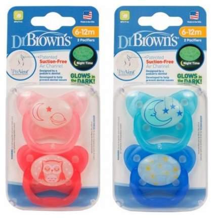 Пустышка ортодонтическая ночная Dr. Browns PreVent 2 шт (с 6 до 12 мес)