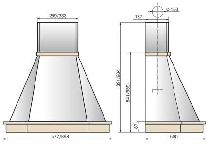 Вытяжка купольная Elikor Камин Грань 60П-650-П3Л White/Beige
