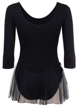 Купальник гимнастический AA-181, рукав 3/4, юбка сетка, хлопок, черный (28-34) (30)