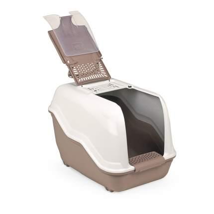 Туалет для кошек MPS Netta, прямоугольный, коричневый, белый, 54х39х40 см