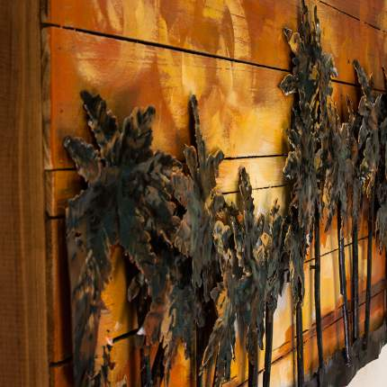 """Картина деревянная с металлом """"Южный закат"""""""