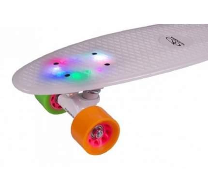 """Скейтборд Hudora Retro Rainglow 22"""", белый, с подсветкой (12134)"""