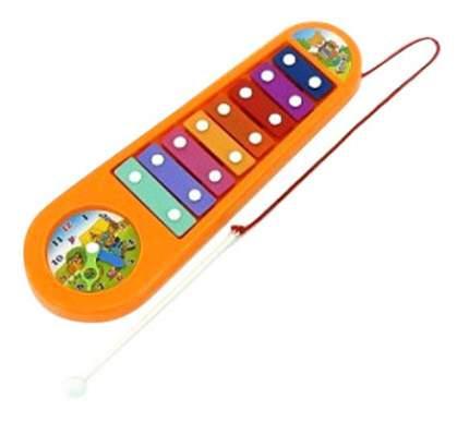 Музыкальный инструмент Ксилофон с часами оранжевый Н10468 Gratwest