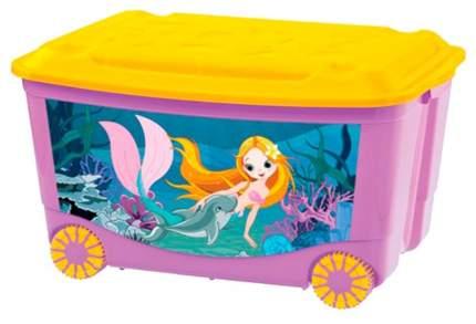 Ящик для игрушек Бытпласт 4313809 с аппликацией на колесах 580x390x335 мм Сиреневый, 4 шт.