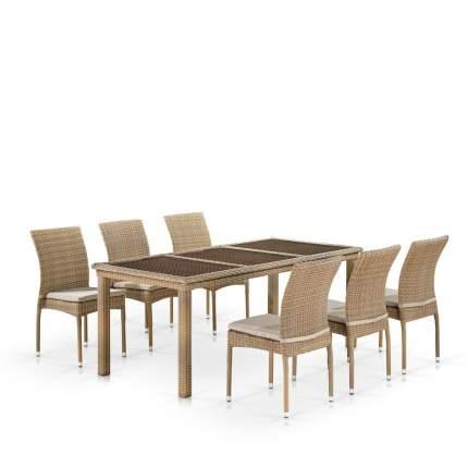 Комплект плетеной мебели Afina T365/Y380B-W65 Light Brown (6+1)