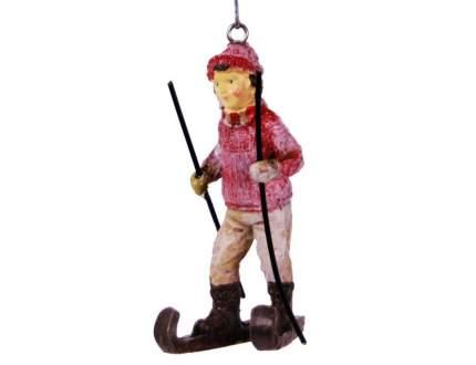 Елочная игрушка Hogewoning Лыжник в красном свитере 400243-061 10 см 1 шт.