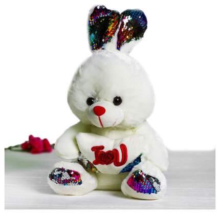 Мягкая игрушка Sima-Land Зайчик с сердцем пайетки 4471245 Белый
