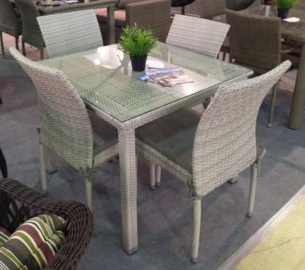 Комплект плетеной мебели Afina T257C/Y380C-W85-90x90 Latte 4PCS