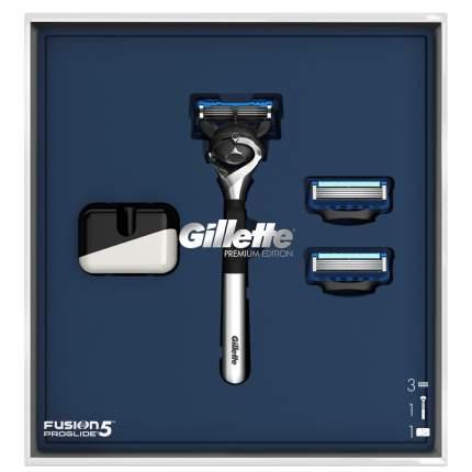 Подарочный набор Gillette Бритва Fusion5 ProGlide Хром + 2Кассеты + Подставка