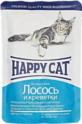 Паучи Happy Cat нежные кусочки в желе для кошек 100 г (Лосось и креветки)