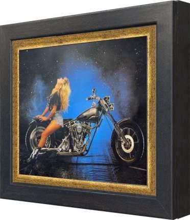 """Ключница """"Девушка на черном мотоцикле (тиснение – золото)"""" Венге"""