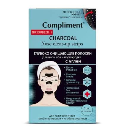 Очищающие полоски для носа, лба и подбородка Compliment с углем 6 шт