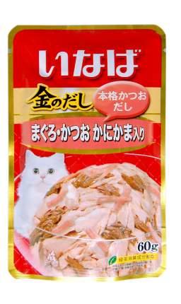 Влажный корм для кошек CIAO, японский тунец бонито и камчатский краб, 60г