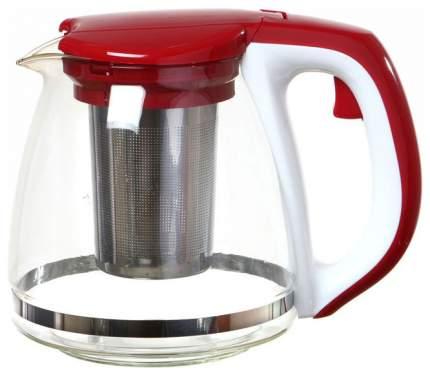 Заварочный чайник Agness 884-010 Белый, красный, прозрачный