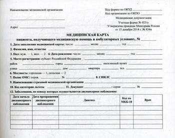 Медицинская карта пациента, получающего Медицинскую помощь В Амбулаторных Условиях (Форма