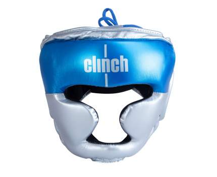 Шлем боксерский Clinch Kids серебристо-синий S