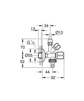 Комбинированный угловой вентиль GROHE (22035000)
