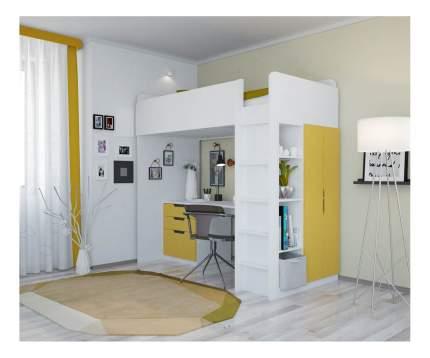Кровать-чердак Polini Simple с письменным столом и шкафом, белый-солнечный
