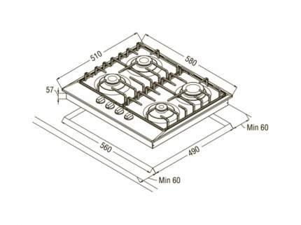 Встраиваемая варочная панель газовая Schaub Lorenz SLK GS6220 Black