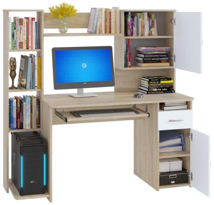 Компьютерный стол СОКОЛ КСТ-11.1, дуб сонома/белый
