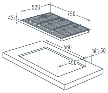 Встраиваемая варочная панель газовая Gorenje GGS75WAX Silver