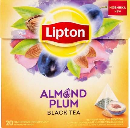 Чай черный Lipton со вкусом сливы, миндаля и лепестками роз 20 пакетиков
