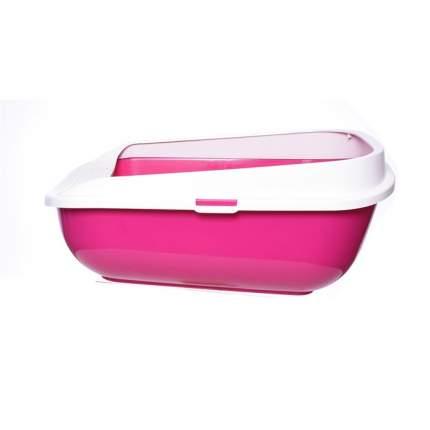 Лоток для кошек MODERNA Comfy Step с высоким бортом, ярко-розовый, 57 х 42 х 25 см