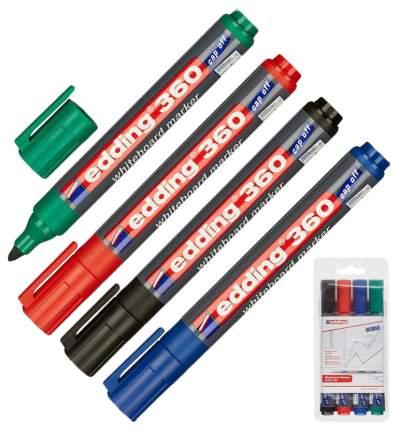 Набор edding маркеров для белых досок, круглый наконечник, 1,5-3 мм, 4 цвета в наборе